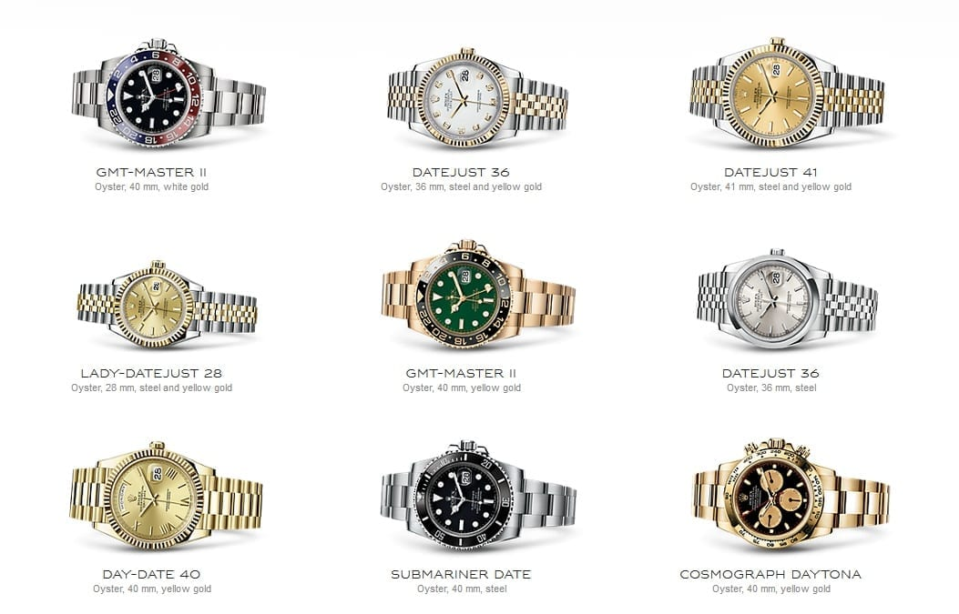 Rolex GMT-Master II M116719BLRO-0001 GMT-Master II Oyster, 40 mm, white gold Rolex Datejust 36 M116233-0154 Datejust 36 Oyster, 36 mm, steel and yellow gold Rolex Datejust 41 M126333-0010 Datejust 41 Oyster, 41 mm, steel and yellow gold Rolex Lady-Datejust 28 M279173-0001 Lady-Datejust 28 Oyster, 28 mm, steel and yellow gold Rolex GMT-Master II M116718LN-0002 GMT-Master II Oyster, 40 mm, yellow gold Rolex Datejust 36 M116200-0084 Datejust 36 Oyster, 36 mm, steel Rolex Day-Date 40 M228238-0006 Day-Date 40 Oyster, 40 mm, yellow gold Rolex Submariner Date M116610LN-0001 Submariner Date Oyster, 40 mm, steel Rolex Cosmograph Daytona M116508-0009 Cosmograph Daytona Oyster, 40 mm, yellow gold