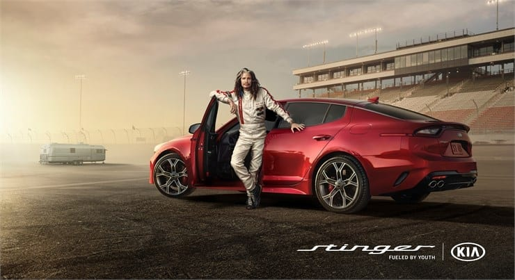 Steven Tyler hits the racetrack in Kia's Super Bowl ad for the all-new Stinger sportback sedan.